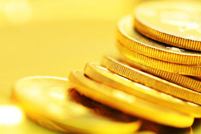 Stack of shiny gold coins