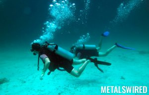 two deep sea divers