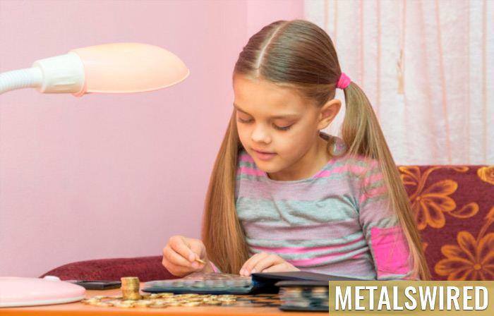 child looks at a coin album for collectibles