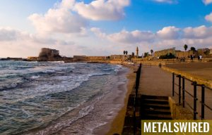 shoreline in Caesarea, Israel, where gold coins were found
